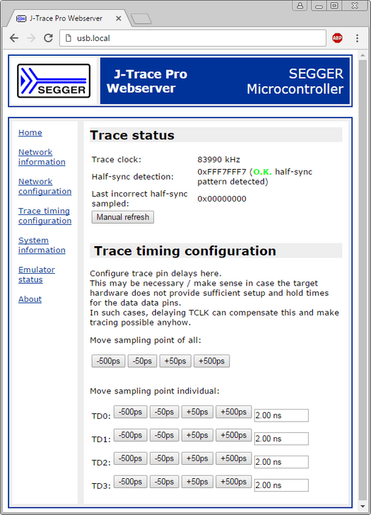 Screenshot of an application sample: SEGGER J-Trace PRO using IP over USB