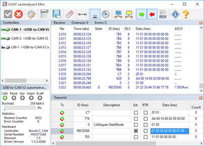 Software support for the Ixxat PC interfaces
